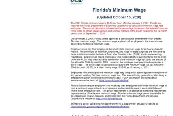 2021 Minimum Wage Change